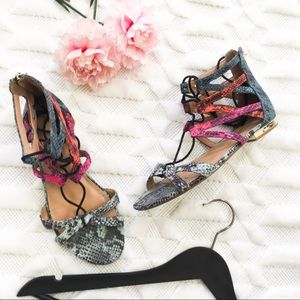 ALDO Colorful Snakeskin Leather Sandals